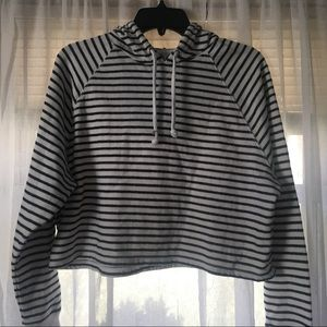 H&M cropped striped hoodie